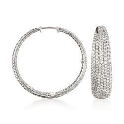 "Roberto Coin 3.87 ct. t.w. Diamond Inside-Outside Hoop Earrings in 18kt White Gold. 1 1/8"", , default"