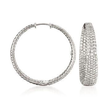 "Roberto Coin 3.87 ct. t.w. Diamond Inside-Outside Hoop Earrings in 18kt White Gold. 1 1/8"", , default"
