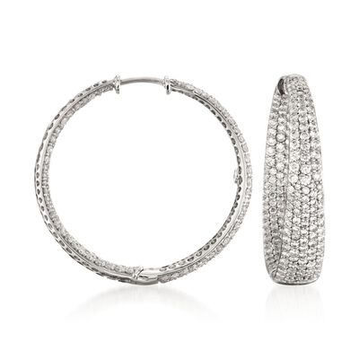 Roberto Coin 3.87 ct. t.w. Diamond Inside-Outside Hoop Earrings in 18kt White Gold, , default