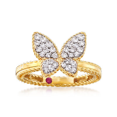 "Roberto Coin ""Princess"" .15 ct. t.w. Diamond Butterfly Ring in 18kt Two-Tone Gold"