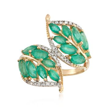 2.70 ct. t.w. Emerald and .16 ct. t.w. Diamond Leaf Bypass Ring in 14kt Yellow Gold, , default