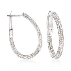 "1.00 ct. t.w. Diamond Oval Hoop Earrings in Sterling Silver. 7/8"", , default"