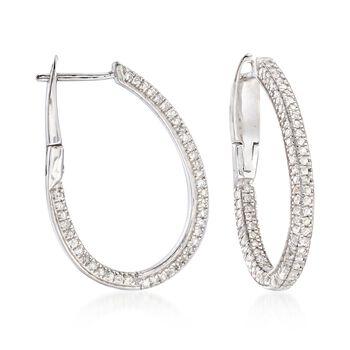 """1.00 ct. t.w. Diamond Oval Hoop Earrings in Sterling Silver. 7/8"""", , default"""
