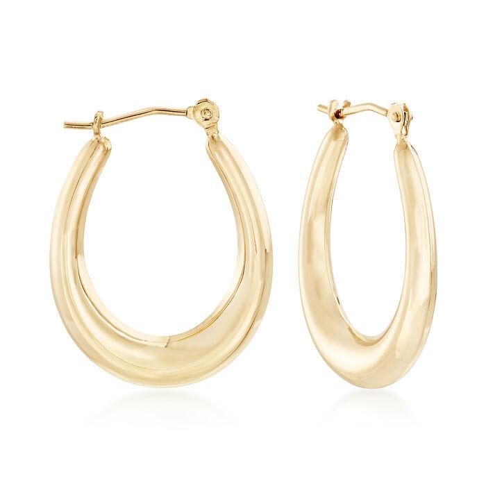 """Italian 14kt Yellow Gold Oval Hoop Earrings. 7/8"""", , default"""