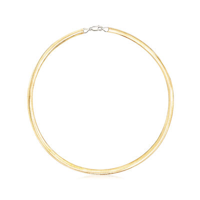 Italian 6mm Two-Tone Sterling Silver Reversible Omega Necklace, , default