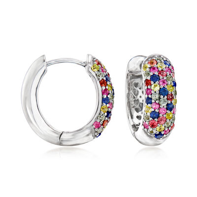 1.50 ct. t.w. Multicolored Sapphire Huggie Hoop Earrings in Sterling Silver