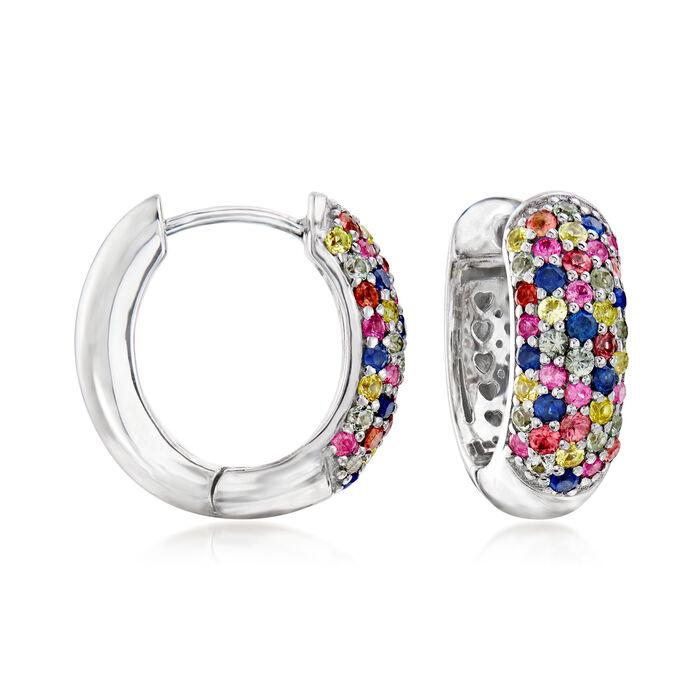 1.50 ct. t.w. Multicolored Sapphire Huggie Hoop Earrings in Sterling Silver, , default