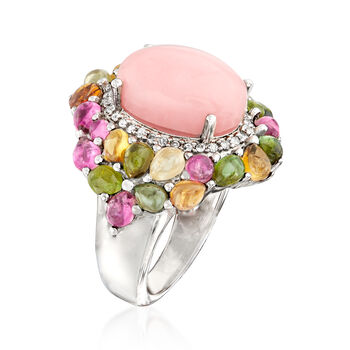 Opal and 4.80 ct. t.w. Multi-Gemstone Ring in Sterling Silver, , default