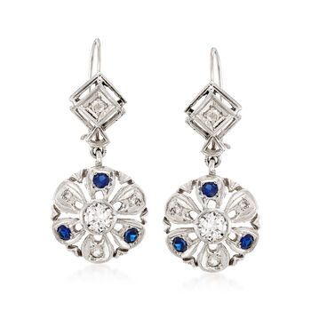 C. 2000 Vintage 1.00 ct. t.w. Diamond and .40 ct. t.w. Synthetic Sapphire Drop Earrings in 14kt White Gold, , default