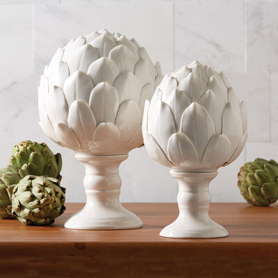"""La Vie En Blanc"" Set of Two White Porcelain Artichoke Sculptures , , default"