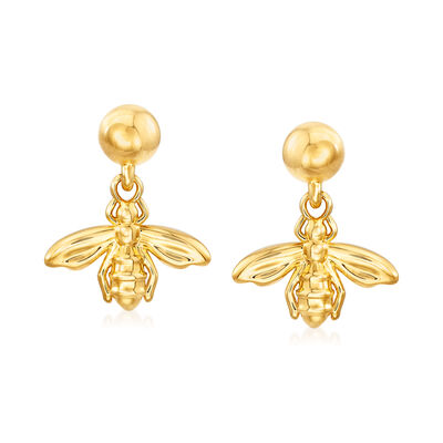 Italian Andiamo 14kt Yellow Gold Bee Drop Earrings
