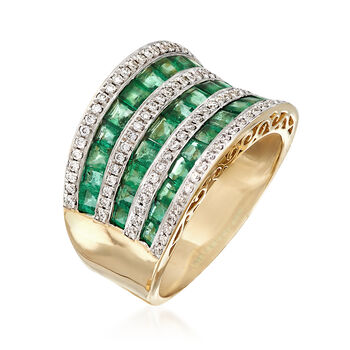 2.10 ct. t.w. Emerald and .35 ct. t.w. Diamond Multi-Row Ring in 18kt Yellow Gold, , default