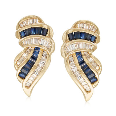 C. 1980 Vintage 1.50 ct. t.w. Sapphire and 1.10 ct. t.w. Diamond Earrings in 14kt Yellow Gold, , default