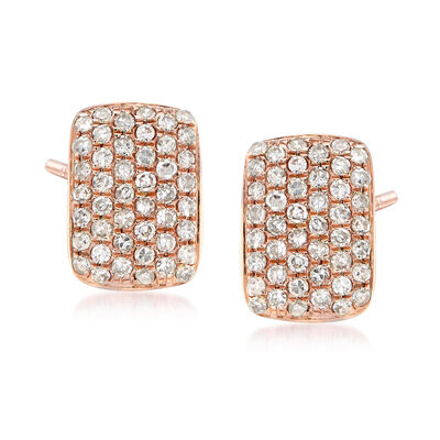 .23 ct. t.w. Pave Diamond Square Earrings in 14kt Rose Gold , , default