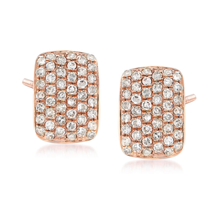 .23 ct. t.w. Pave Diamond Square Earrings in 14kt Rose Gold