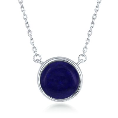 Bezel-Set Lapis Necklace in Sterling Silver, , default