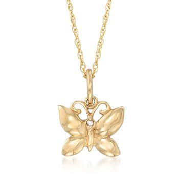 """14kt Yellow Gold Butterfly Pendant Necklace With a Diamond Accent. 18"""", , default"""