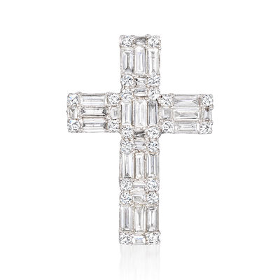 .57 ct. t.w. Round and Baguette Diamond Cross Pendant in 14kt White Gold