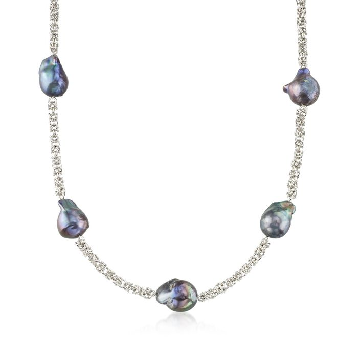 14-16mm Black Cultured Baroque Pearl Byzantine Station Necklace in Sterling Silver, , default