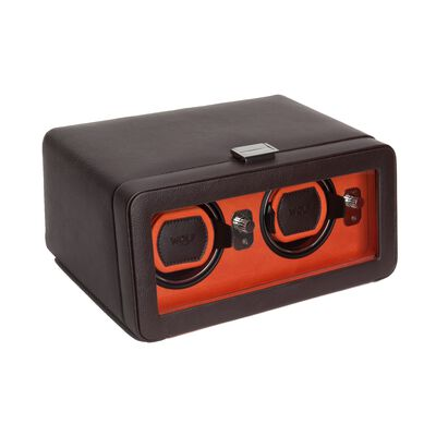 """Windsor"" Brown and Orange Double Watch Winder With Cover by Wolf Designs, , default"
