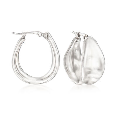Sterling Silver Concave Hoop Earrings