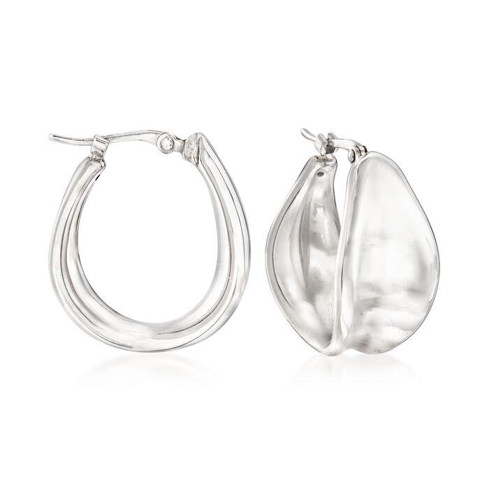 """Sterling Silver Concave Hoop Earrings. 3/4"""", , default"""