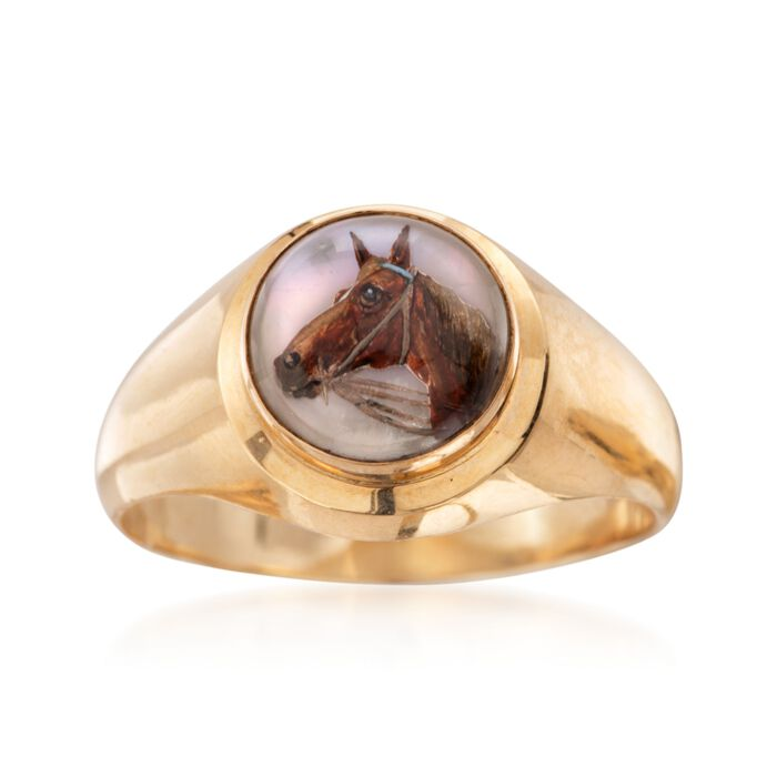 C. 1980 Vintage Cabochon Crystal Horse Head Ring in 18kt Yellow Gold. Size 11.5