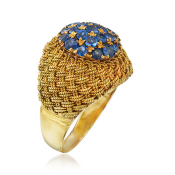 C. 1970 Vintage 1.50 ct. t.w. Sapphire Woven Dome Ring in 18kt Yellow Gold. Size 8, , default