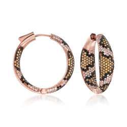 3.40 ct. t.w. Multicolored CZ Leopard Print Hoop Earrings in 18kt Rose Gold Over Sterling, , default