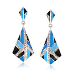 "Belle Etoile ""Delano"" Blue and Black Enamel and .30 ct. t.w. CZ Earrings in Sterling Silver, , default"