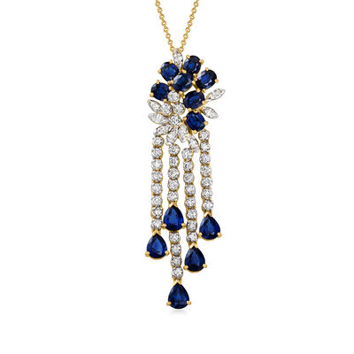C. 1980 Vintage 4.80 ct. t.w. Sapphire and 2.00 ct. t.w. Diamond Cluster Drop Pendant Necklace in 18kt Yellow Gold