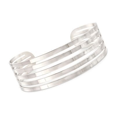 Italian Sterling Silver Five-Row Open-Space Cuff Bracelet, , default