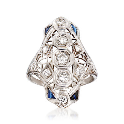 C. 1950 Vintage .55 ct. t.w. Diamond Openwork Ring with Synthetic Sapphire Accents in 18kt White Gold, , default