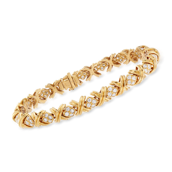 "C. 1990 Vintage Tiffany Jewelry 2.75 ct. t.w. Diamond ""X"" Bracelet in 18kt Yellow Gold. 7.5"", , default"
