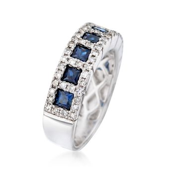 1.40 ct. t.w. Sapphire and .68 ct. t.w. Diamond Ring in 14kt White Gold, , default