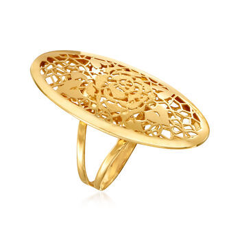 Italian 18kt Yellow Gold Oval Openwork Rose Ring. Size 7, , default