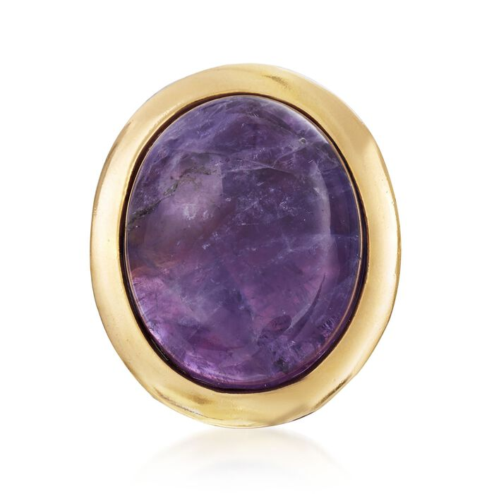 Italian 25.00 Carat Cabochon Amethyst Statement Ring in 18kt Gold Over Sterling. Size 6, , default