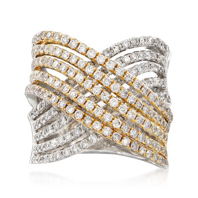 2.31 ct. t.w. Diamond Multi-Row Crisscross Ring in 14kt Two-Tone Gold, , default