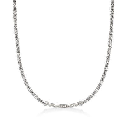 .50 ct. t.w. Diamond Bar Byzantine Necklace in Sterling Silver, , default