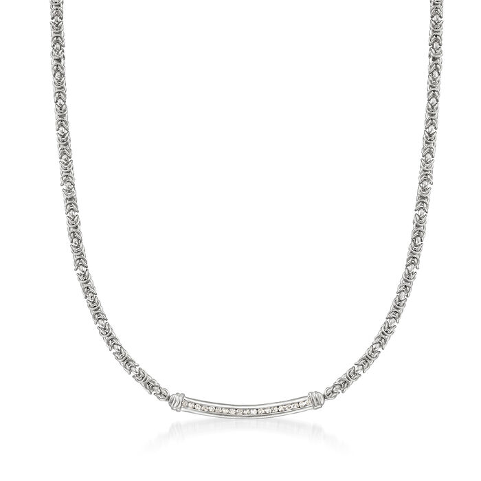 .50 ct. t.w. Diamond Bar Byzantine Necklace in Sterling Silver
