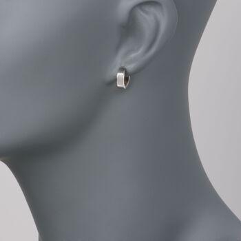"""Roberto Coin 18kt White Gold Hoop Earrings. 3/8"""", , default"""