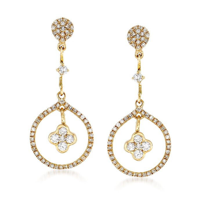 .59 ct. t.w. Diamond Clover and Open-Circle Drop Earrings in 14kt Yellow Gold, , default