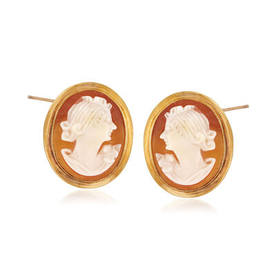 C. 1960 Vintage Pink Shell Cameo Earrings in 10kt Yellow Gold, , default