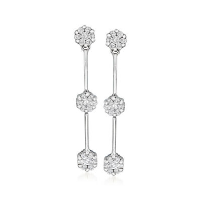 C. 2000 Vintage .60 ct. t.w. Diamond Cluster Section Drop Earrings in 14kt White Gold, , default