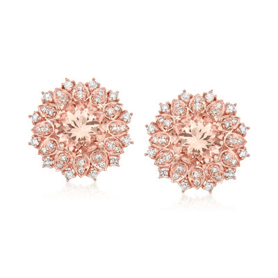 2.60 ct. t.w. Morganite and .41 ct. t.w. Diamond Earrings in 14kt Rose Gold