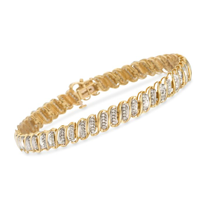 "1.00 ct. t.w. Diamond S-Link Bracelet in 14kt Yellow Gold. 7.5"", , default"