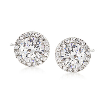 3.25 ct. t.w. CZ Halo Earrings in Sterling Silver, , default