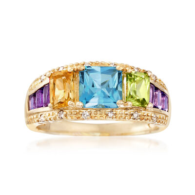 2.00 ct. t.w. Mixed Gemstone Ring in 14kt Yellow Gold