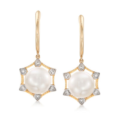 8.5-9mm Cultured Pearl Earrings with Diamond Accents in 14kt Yellow Gold, , default