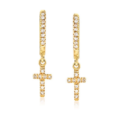 .12 ct. t.w. Diamond Hoop Drop Cross Earrings in 14kt Yellow Gold
